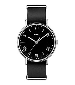 Timex® Men's Style Elevated Black Leather Strap Watch