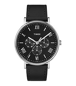 Timex® Style Elevated Black Leather Strap Watch