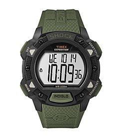Timex® Men's Expedition Digital Shock Green Resin Strap Watch