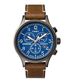 Timex® Men's Expedition Analog Premium Brown Leather Strap Watch