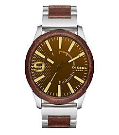 Diesel Men's Rasp Silvertone and Brown Leather Bracelet Watch