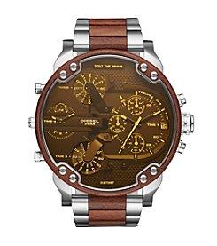 Diesel Men's Mr. Daddy 2.0 Silvertone and Brown Chronograph Watch