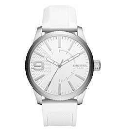 Diesel Men's Rasp Silvertone White Silicone Strap Watch
