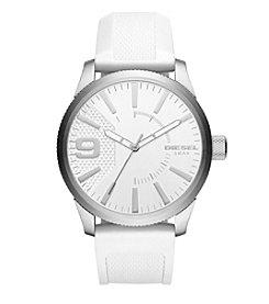 Diesel Men's Rasp Silvertone White Silicone Strap Watch