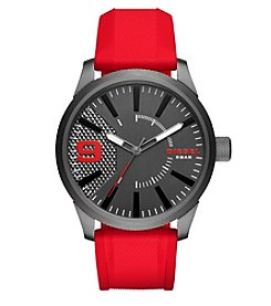 Diesel Men's Rasp Gunmetal and Red Silicone Strap Watch