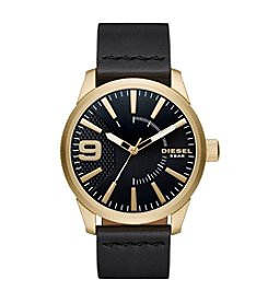 Diesel Men's Rasp Goldtone and Black Leather Strap Watch