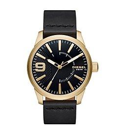 Diesel Men's Rasp Goldtone and Black Leather Strap Watch