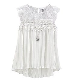 Beautees Girls' 7-16 Flutter Sleeve Pleated with Lace Top