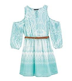 Sequin Hearts® Girls' 7-16 Belted Cold Shoulder Dress