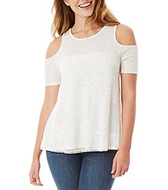 A. Byer Lace Overlay Cold-Shoulder Top