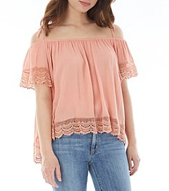 A. Byer High-Low Crochet Cold-Shoulder Top