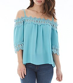 A. Byer Crochet Trim Off-Shoulder Top
