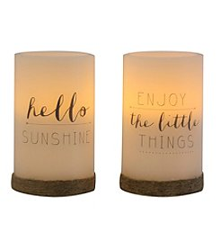 Order Home Collection® Two Pack Sentiment LED Flameless Candles