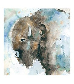 Buffalo On Blue Canvas Wall Art