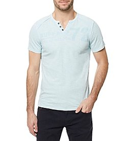 Buffalo by David Bitton Men's Short Sleeve Henley Knit Split Neck Tee