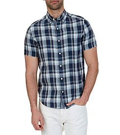 Nautica® Men's Classic Fit Plaid Linen Short Sleeve Button Down