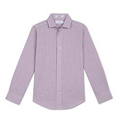 Calvin Klein Boys' 8-20 Plaid Button Up Shirt