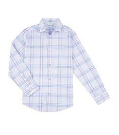 Calvin Klein Boys' 8-20 Windowpane Plaid Shirt