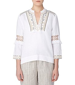 Joan Vass® Embroidered Top
