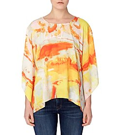 Joan Vass® Printed Poncho Top