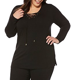 Rafaella® Plus Size Lace Up Top