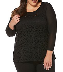 Rafaella® Plus Size Lace Overlay Top