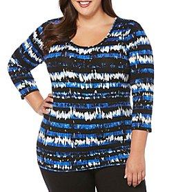 Rafaella® Plus Size Tie Dye Texture Shirt