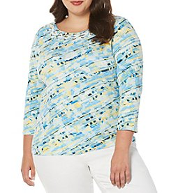 Rafaella® Plus Size Bias Striped Top