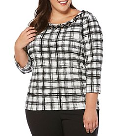 Rafaella® Plus Size Brushstroke Plaid Shirt