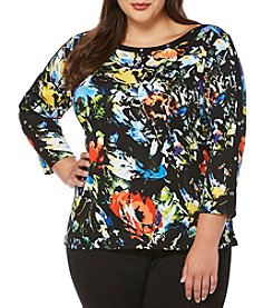 Rafaella® Plus Size Painted Flowers Top