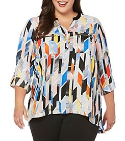 Rafaella® Plus Size Stained Glass Stripe Top