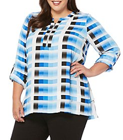 Rafaella® Plus Size Zip Neck Blouse