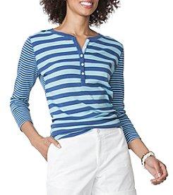 Chaps® Stripe Slub Henley Top
