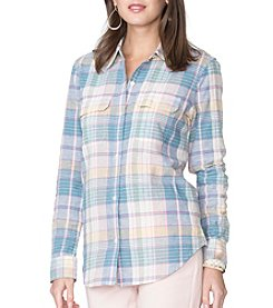 Chaps® Plaid Linen-Cotton Workshirt