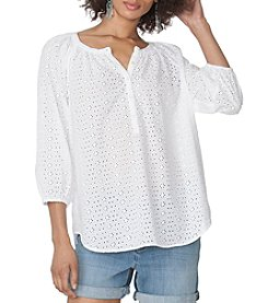 Chaps® Eyelet Peasant Top