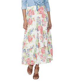 Chaps® Floral Long Tiered Woven Skirt
