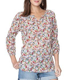Chaps® Floral Oasis Peasant Woven Top