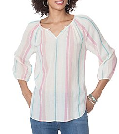 Chaps® Stripe Peasant Woven Top