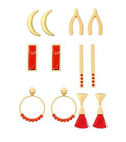 GUESS Mixed Coral Accented Six Pair Earring Set