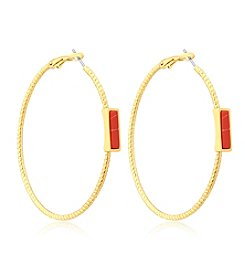 GUESS Stone Hoop Earrings