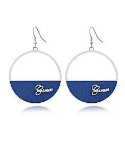GUESS Suede Logo Drop Earring