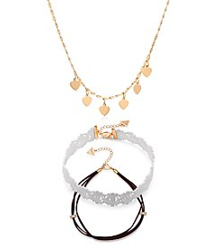GUESS Trio Choker And Charm Necklace Set