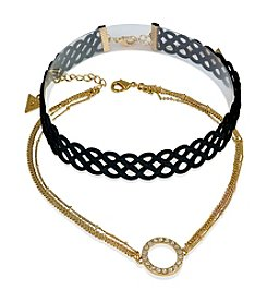 GUESS Crystal Accent Duo Choker Set
