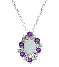 Sterling Silver Created Opal, Amethyst And White Topaz Pendant