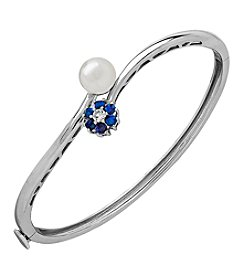 Sterling Silver Created Blue Opal, Cultured Freshwater Pearl And Created White Sapphire Bangle