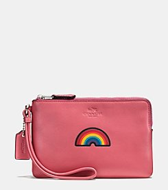 COACH BOXED EMBOSSED SMALL WRISTLET IN REFINED CALF LEATHER
