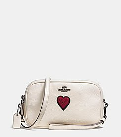 COACH CROSSBODY CLUTCH IN GRAIN LEATHER WITH SOUVENIER EMBROIDERY