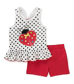 KHQ Girls' 2T-6X 2 Piece Ladybug Tank and Shorts Set