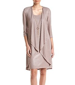 R&M Richards® Knit Metallic Jacket Dress