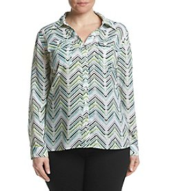 Studio Works® Plus Size Printed Windowpane Pattern Shirt